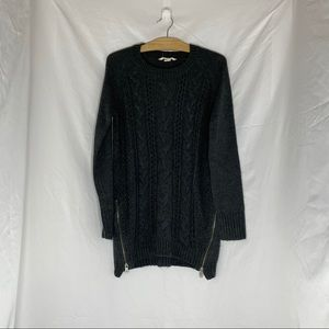 Long cozy charcoal knitted sweater